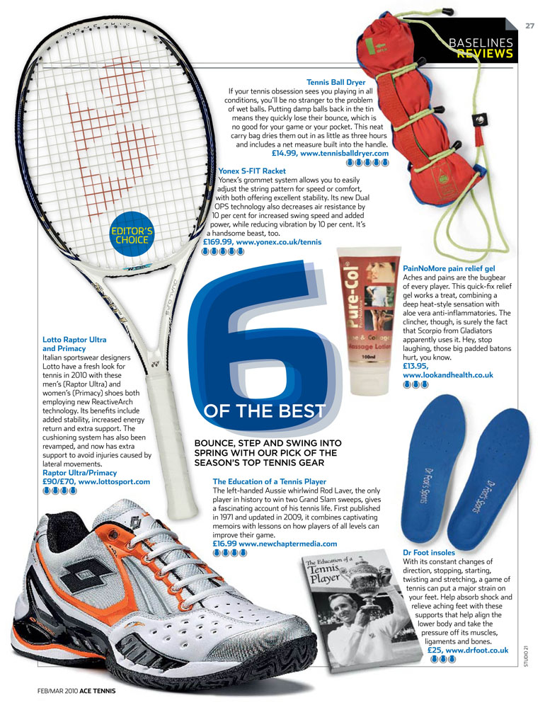 ACE Tennis Magazine Award for Tennis Ball Dryer